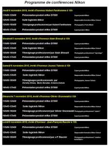 Programme conférences Nikon Salon Photo