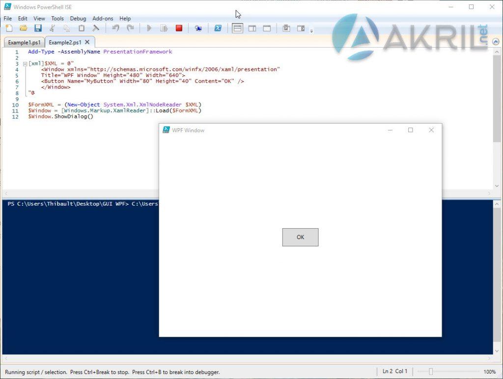 Création d'une interface graphique simple WPF en PowerShell avec un Bouton