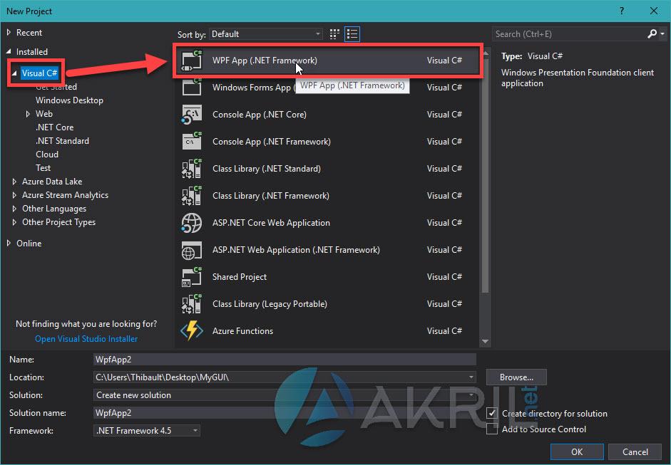 Créez un projet de type WPF App dans Visual Studio