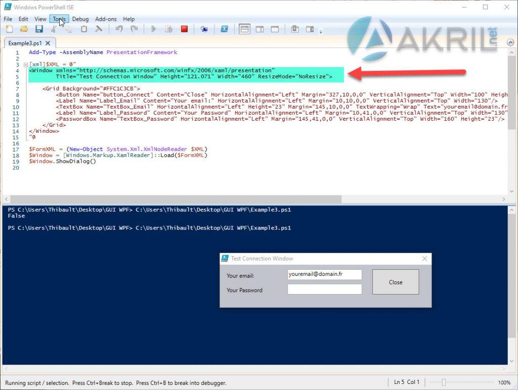 Intégrer le code du Designer à votre script PowerShell