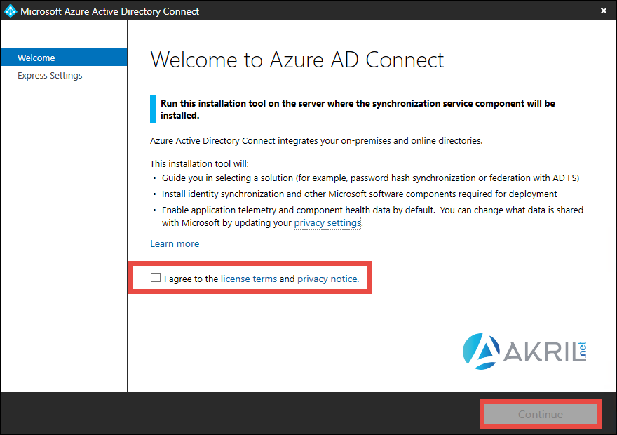 Azure AD Connect - License terms