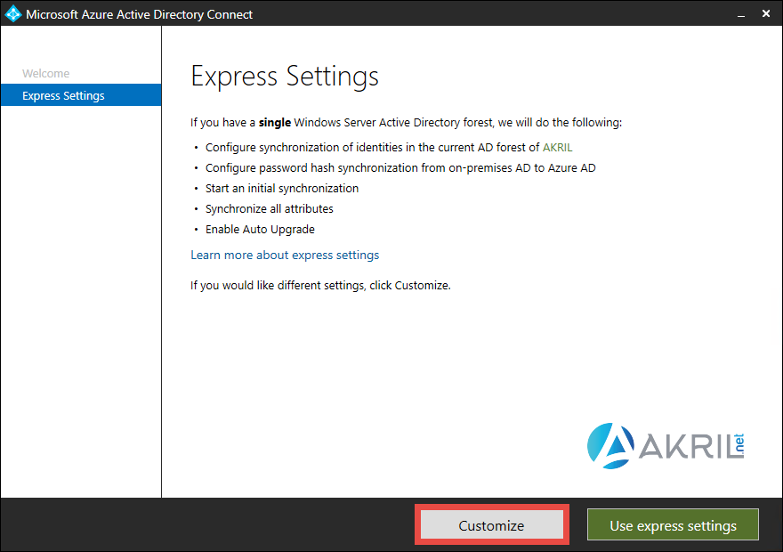 Express Settings - Azure AD Connect