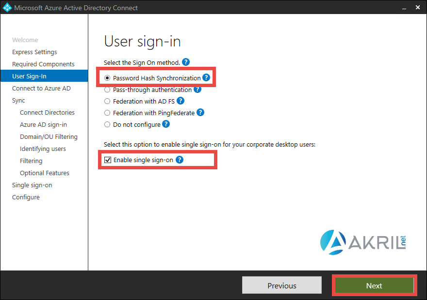 Azure AD Connect - Méthodes d'authentification