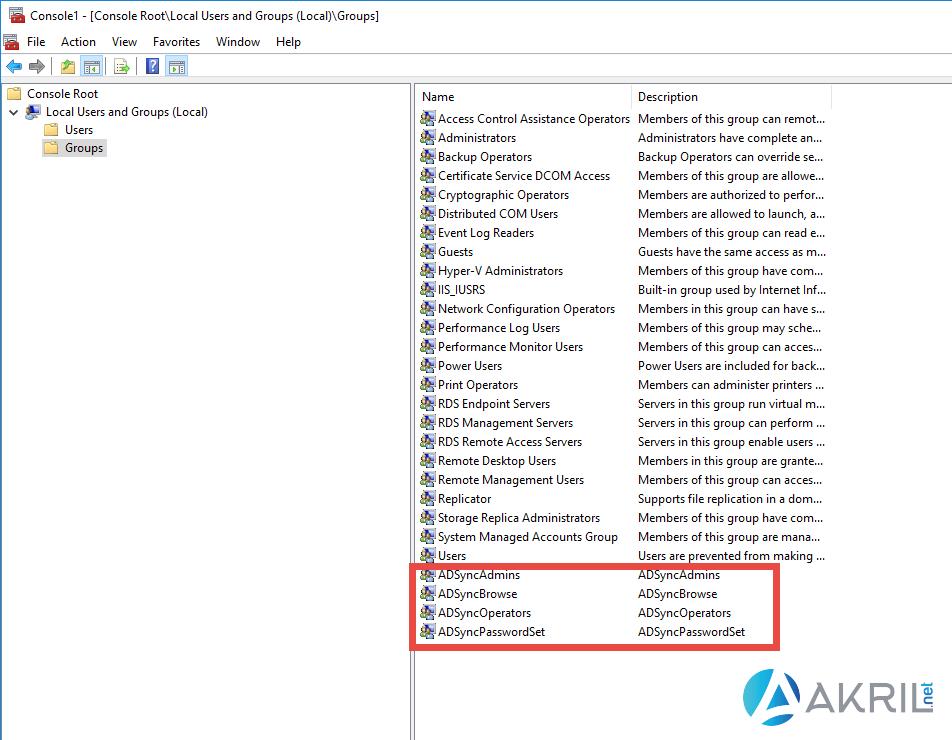 Groupes créés automatiquement lors de l'installation d'Azure AD Connect