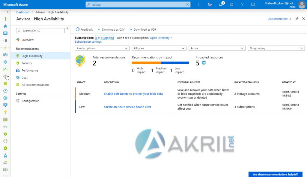 Azure Advisor - High Availability