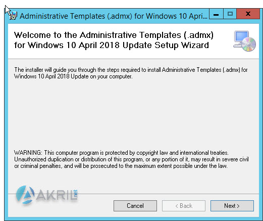 Installation ADMX pour Windows 10 version Avril 2018 (début)