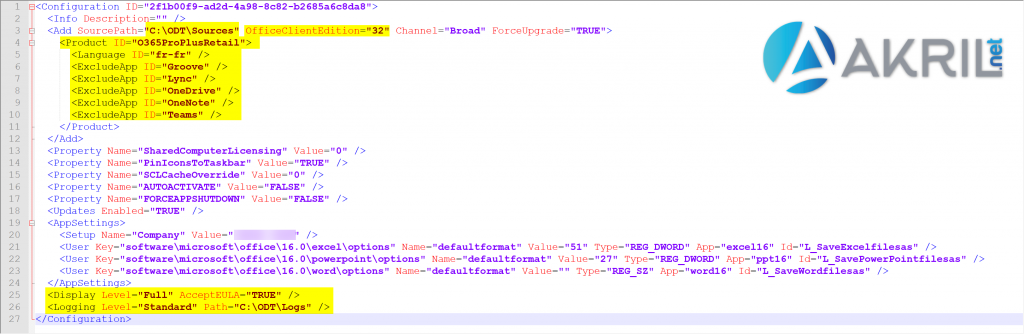 Exemple de fichier XML pour Office 365 Pro Plus