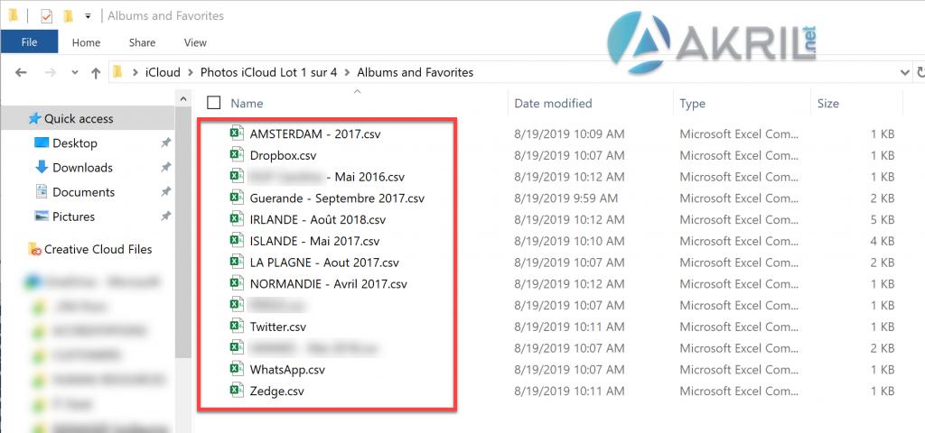 Liste des fichiers CSV - iCloud