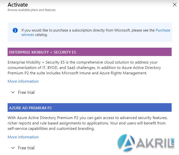 Azure Active Directory - Licences de démo
