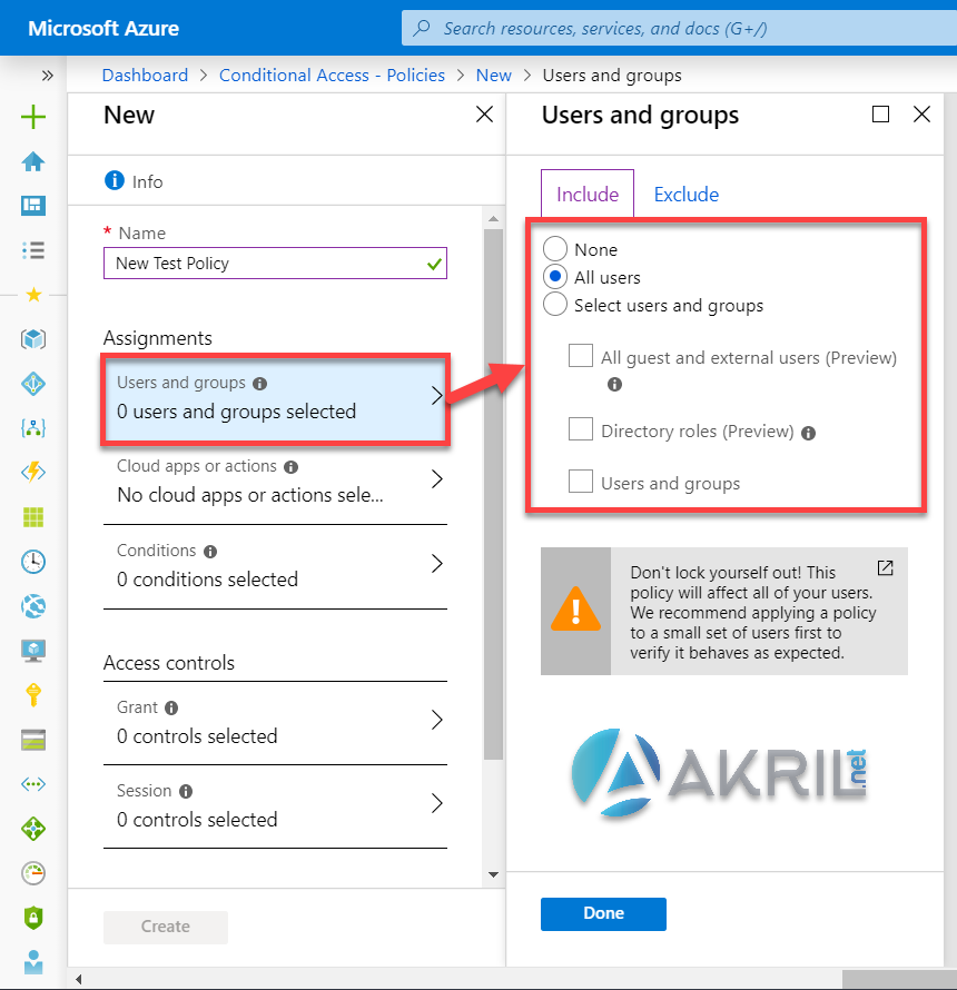 Azure Conditional Access - Choix utilisateurs / groupes