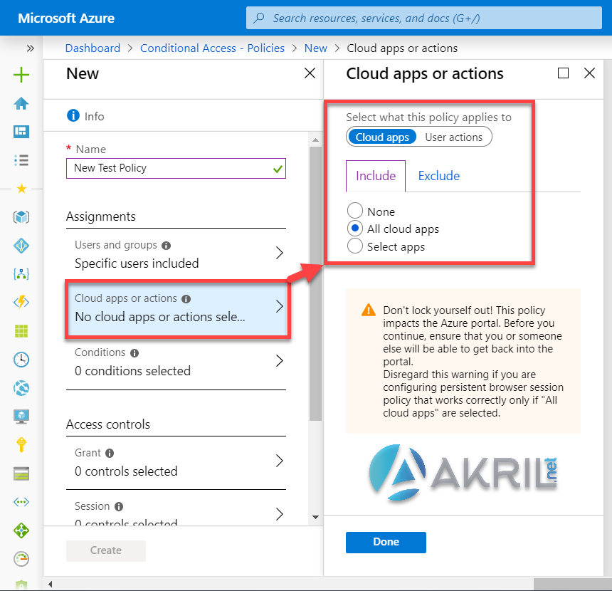 Azure Conditional Access - Cloud Apps