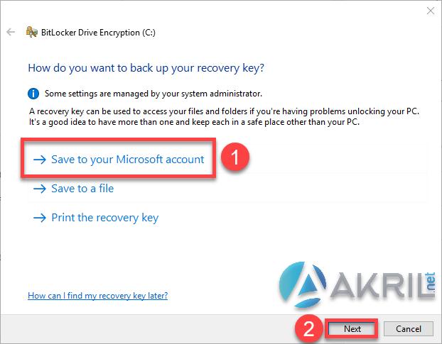 Sauvegarder votre recovery key