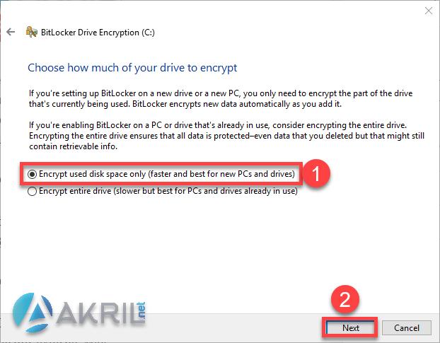 Choix de la méthode de chiffrement BitLocker