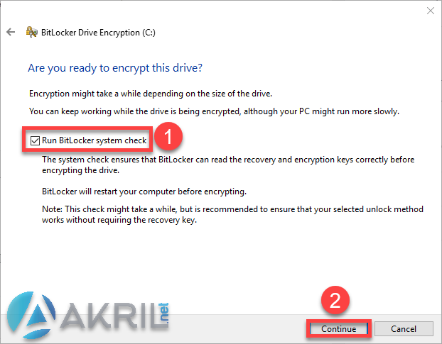 Démarrage du chiffrement BitLocker