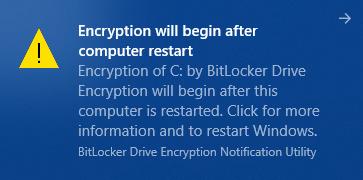 Chiffrement BitLocker en cours...