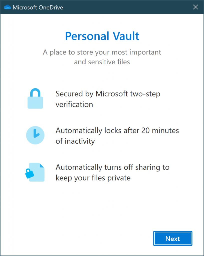 Activation de votre OneDrive Vault 1/2