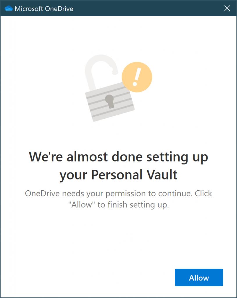 Activation de votre OneDrive Vault 2/2