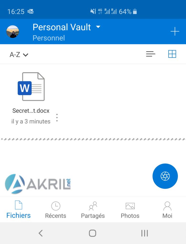 Vue OneDrive Vault depuis un smartphone Android