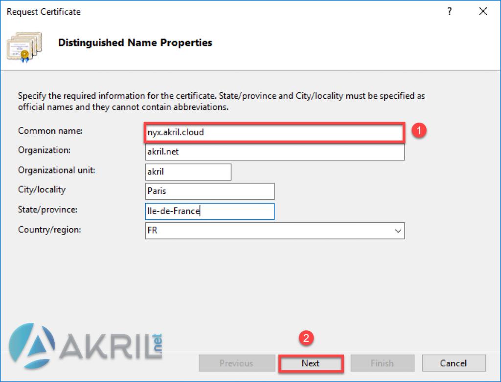 Création de votre CSR - Certificate Request