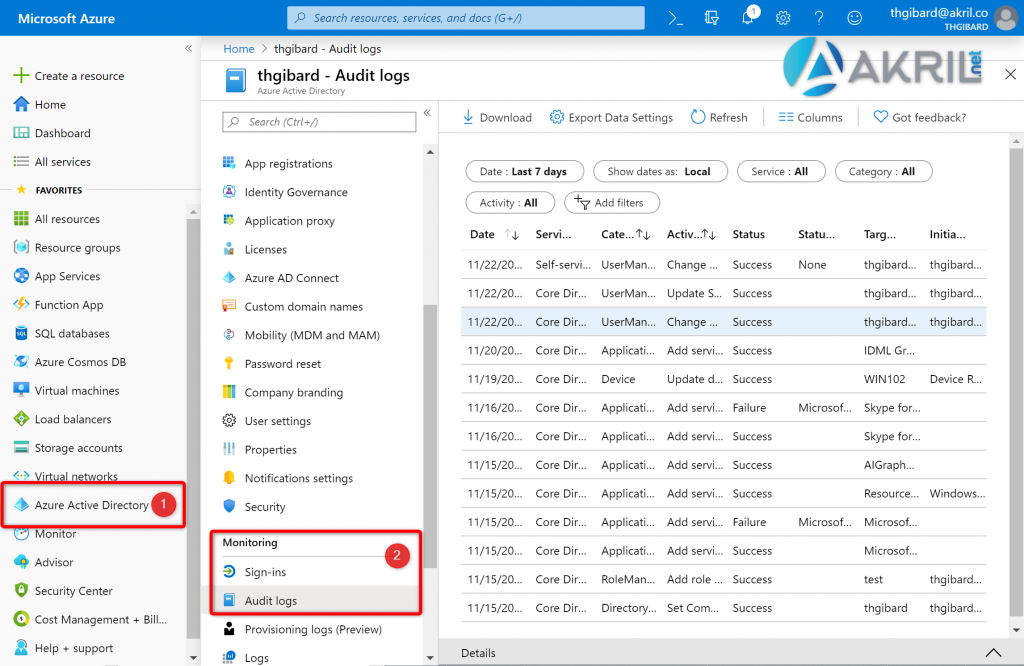 Audit logs depuis Azure Active Directory