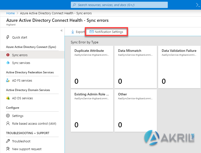 Azure Active Directory Connect Health - Sync errors