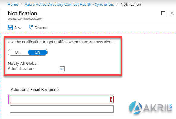 Azure AD Connect Notification Settings