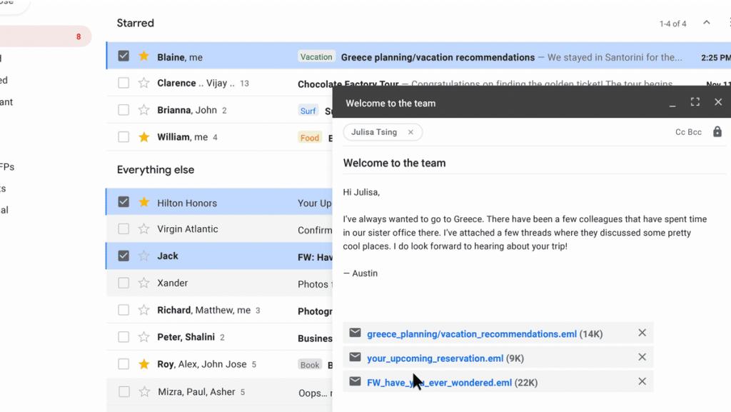 GSuite - Joindre des emails dans GMail