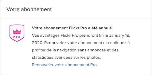 Abonnement Flickr annulé