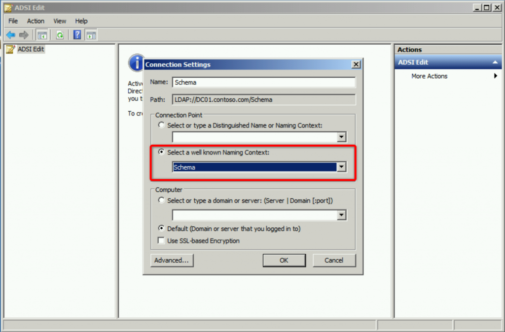 Schéma Active Directory via ADSI Edit