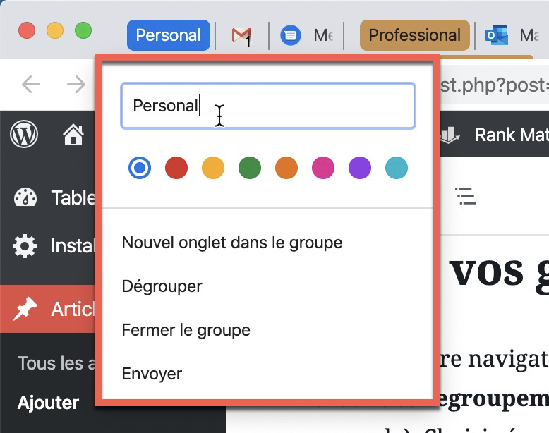 Options des onglets groupés dans Google Chrome