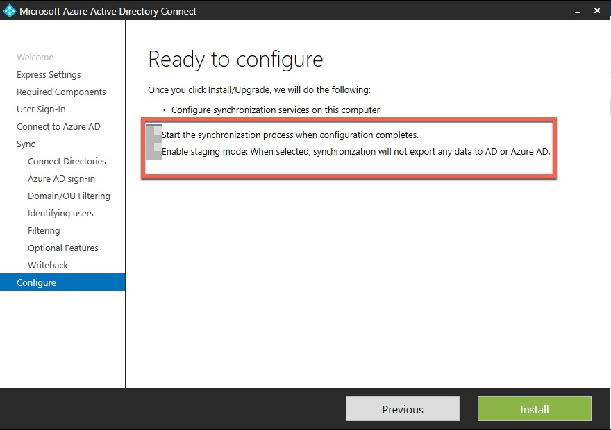 Azure AD Connect - Activation du mode Staging
