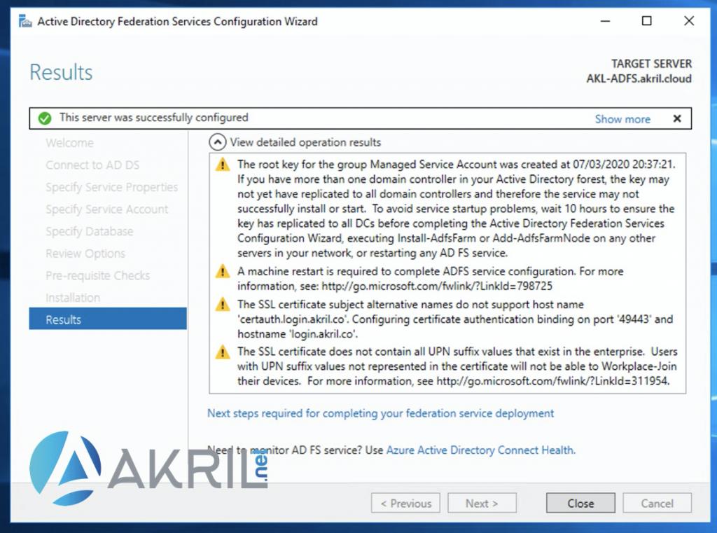 Fin de l'installation et de la configuration de votre serveur ADFS