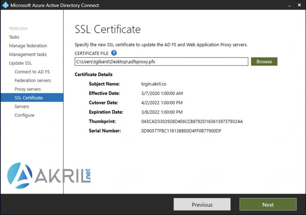 Ajout du certificat