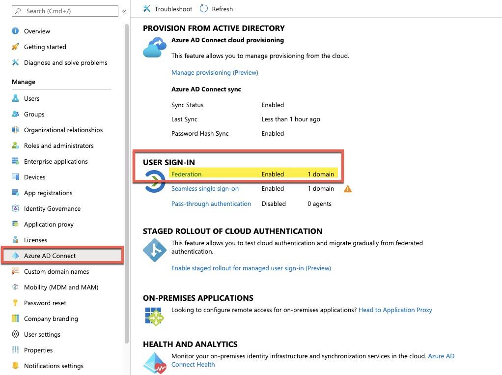 Statut Fédération depuis portail Azure Active Directory