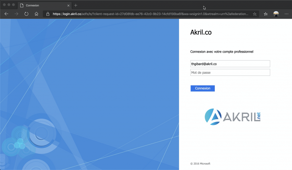 Test d'authentification en mode fédéré avec ADFS
