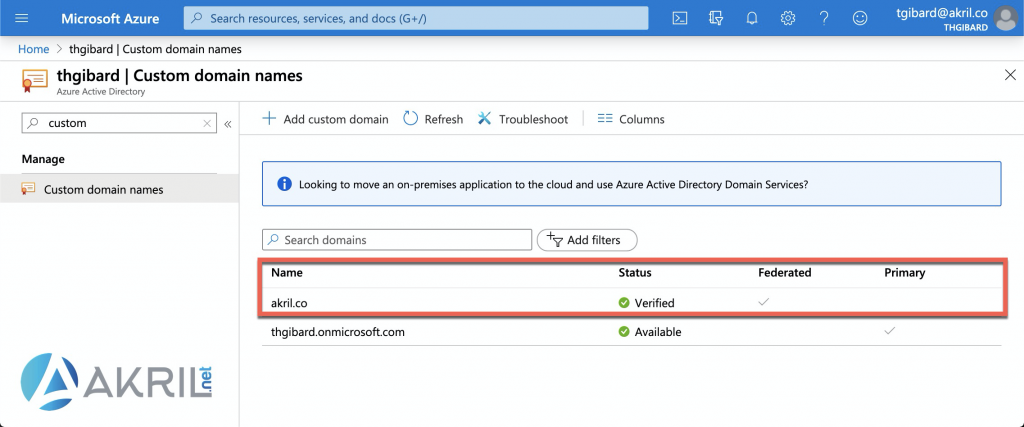 Azure Active Directory - Custom domain names