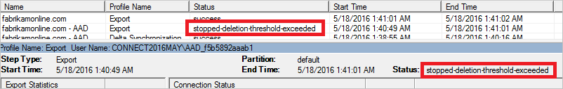 Aperçu de l'erreur dans Azure AD Connect : stopped-deletion-threshold-exceeded