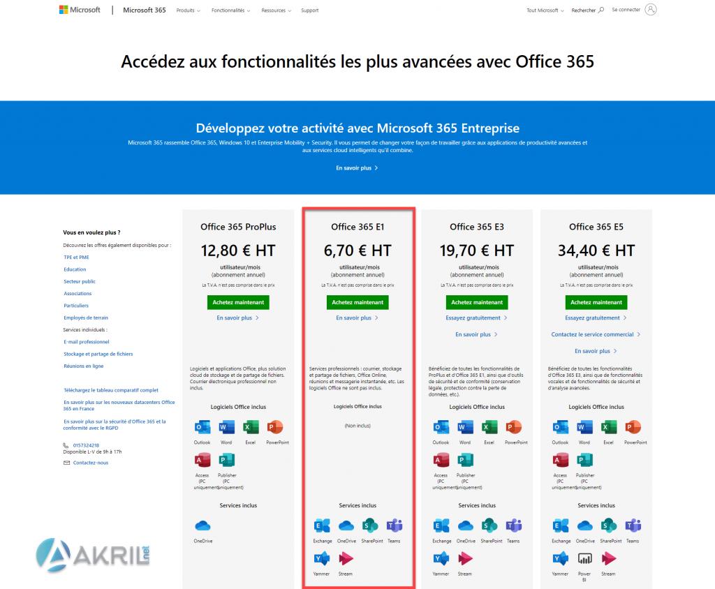 Prix - Microsoft Office 365