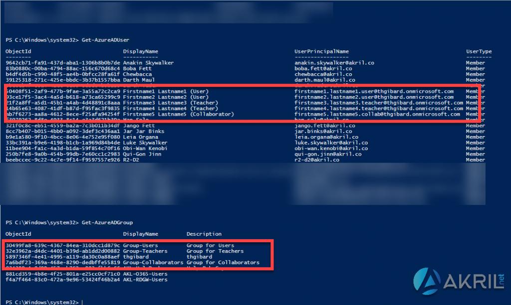 List des utilisateurs et groupes au sein de mon Azure Active Directory