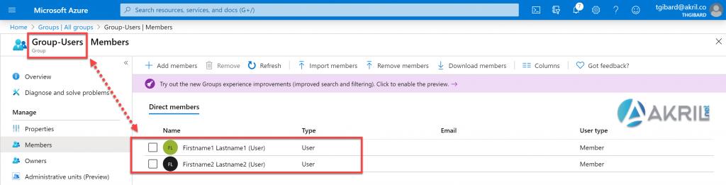 Groupe Azure Active Directory - Etudiants