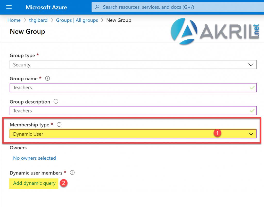 Création d'un groupe Azure Active Directory dynamique