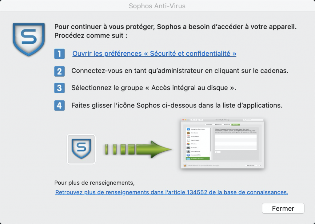 Alerte Sophos Anti-Virus pour Mac OS