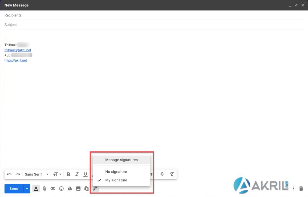 Nouveau bouton pour changer de signatures dans les mails