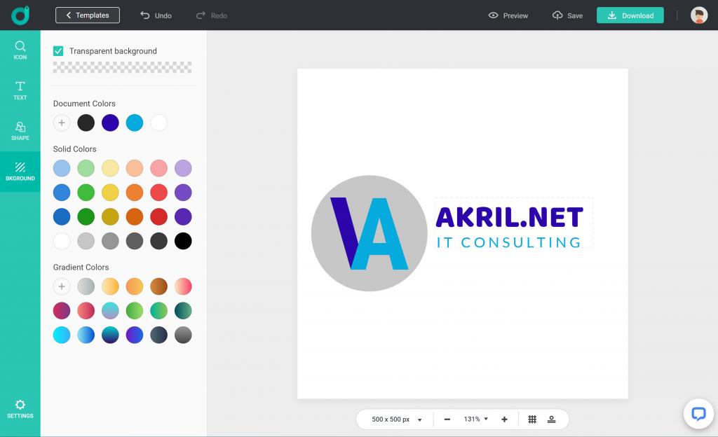 DesignEvo : finalisez le choix des couleurs et du fond