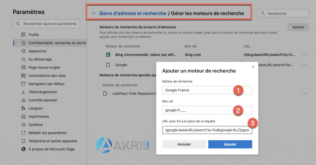 Ajout de Google France comme moteur de recherche