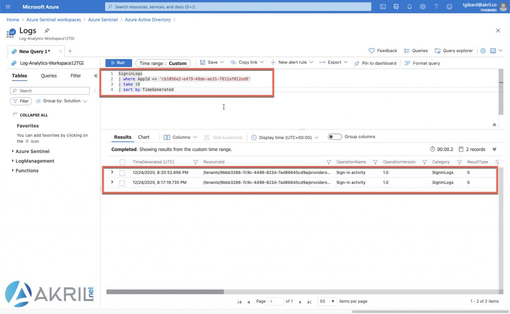 Exemple d'un query dans Log Analytics Workspace