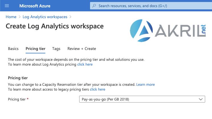 Création de votre Log Analytics Workspace