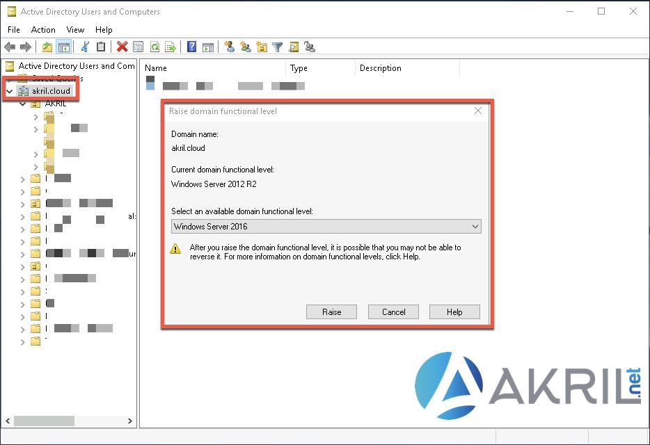 Augmentation du Domain Functional Level - Active Directory