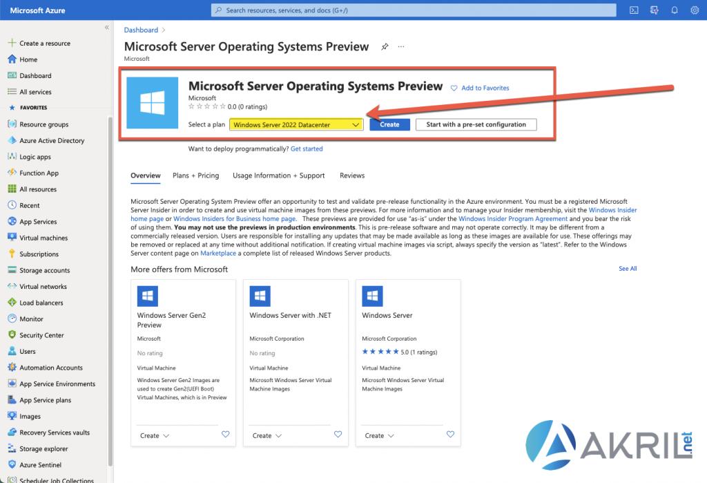 Création d'une VM Windows Server 2022 depuis le portail Azure