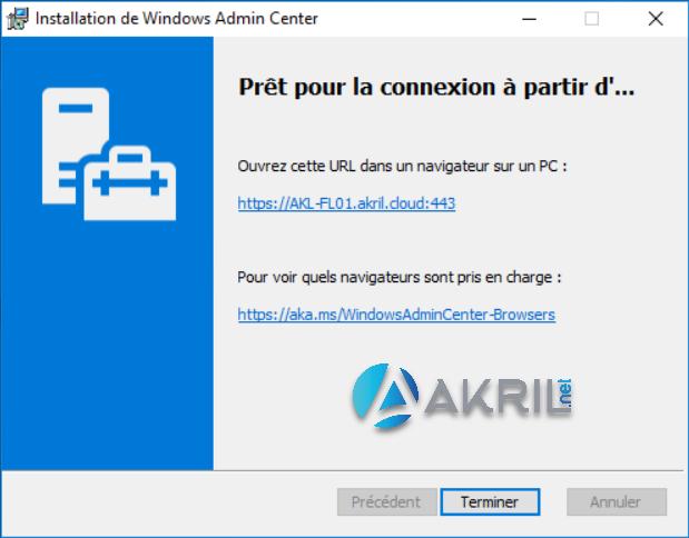 Installation de Windows Admin Center (suite)